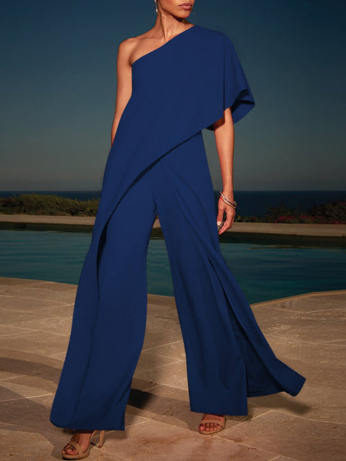 Solid Irregular One Shoulder Jumpsuit