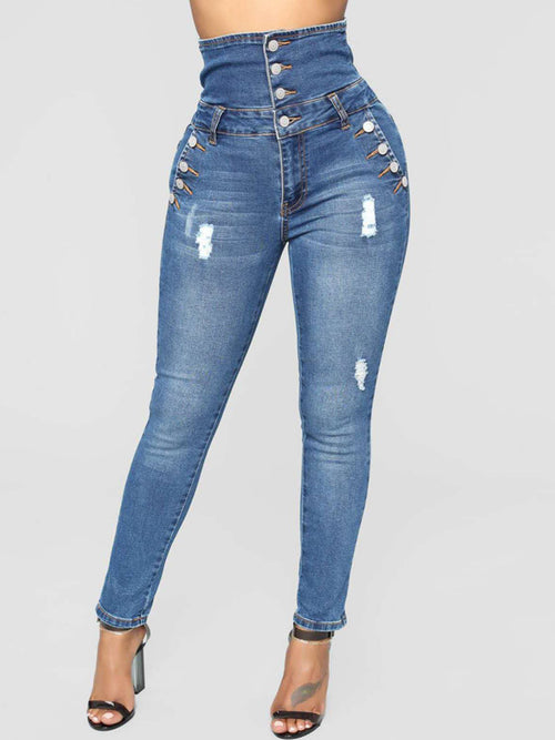 Fashion High Waist Denim Pants