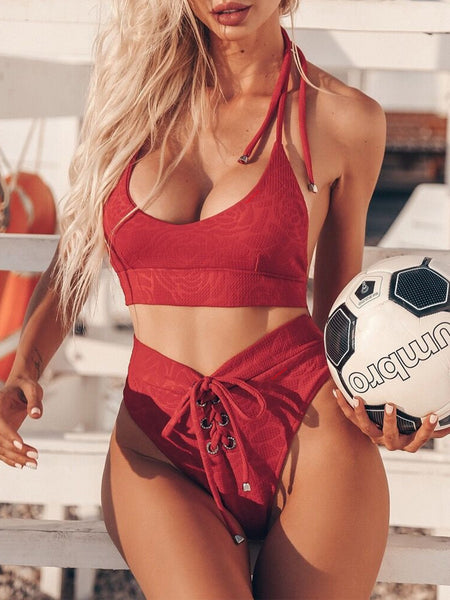 Halter Neck Lace Up Sleeveless Two Piece Swimwear