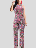 Halter Neck Print Jumpsuit(Plus Size)
