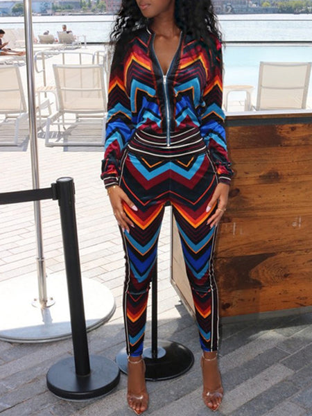 Fashion Print Long Sleeve Two-Piece Outfits