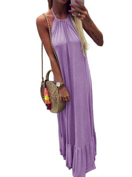 Solid Casual Open Back Halter Neck Beach Maxi Dress