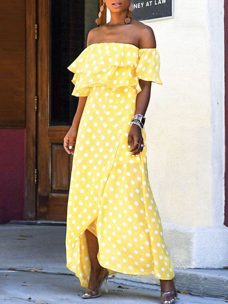 Polka Dot Asymmetric Hem Ruffle Overlay Maxi Dress