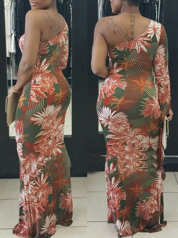 Sexy One Shoulder Printed Maxi Dress(Plus Size)