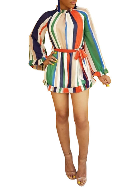 High Neck Puff Sleeve Rainbow Stripe Belted Dress