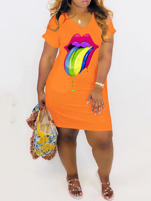 Plus Size Colorful Lip Mini Dress