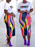 Letter Print Rainbow Stripe Short Sleeve Top & Skirt