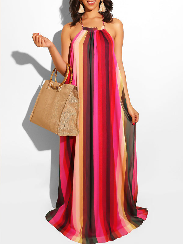 Casual Digital Print Open Back Halter Neck Maxi Dress