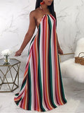 Halter Neck Backless Stripe Print Casual Maxi Dress