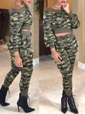 Camouflage Boat Neck Lace-up Two-Piece Outfits