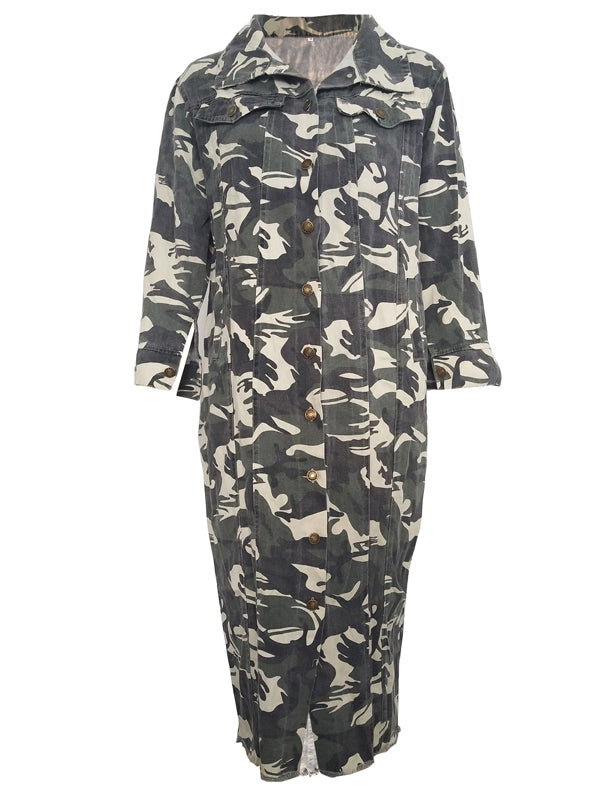 Camouflage Print Casual Long Sleeve Long Coat
