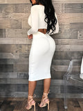 Solid Sexy Long Sleeves Midi Dress