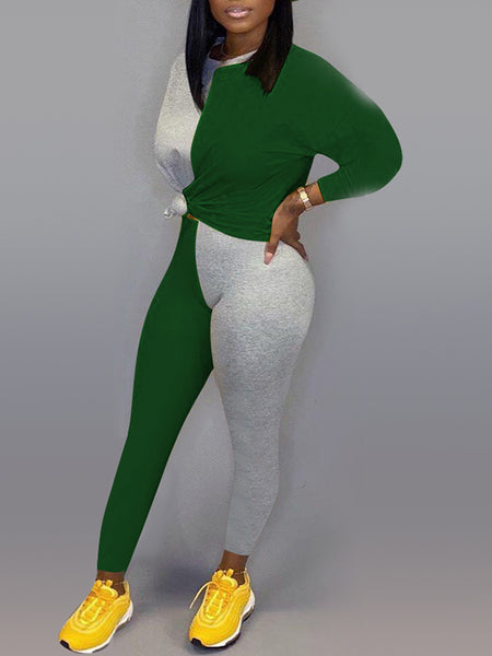 Color Splicing Plus Size Knotted Top & Pants