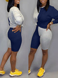 Color Block Long Sleeve Two Piece Sets