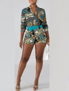 Turndown Collar Print Top & Shorts With Belt