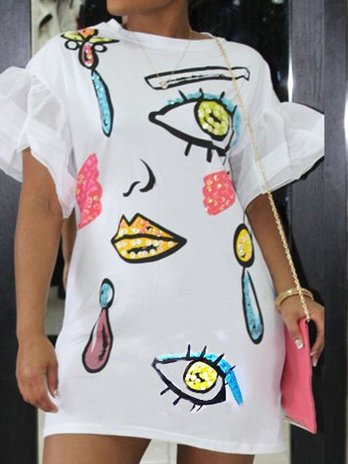Print Mini Dress with Flare Sleeves
