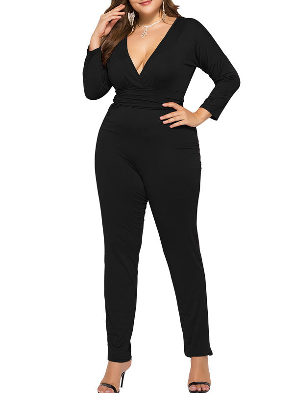 Solid Deep V-neck Long Sleeves Jumpsuit
