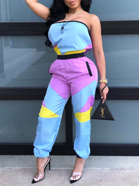 Casual Strapless Color Patchwork Jumpsuit