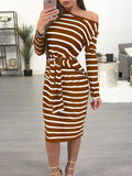 Casual Skew Neck Stripe Print Bandage Midi Dress