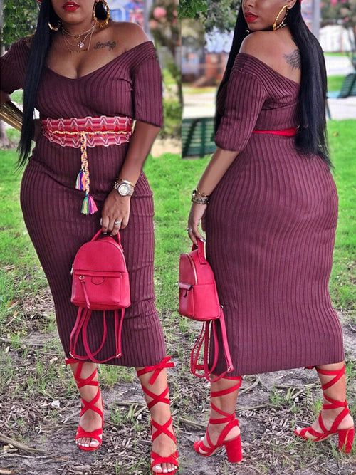 Solid Off The Shoulder Midi Dress Without Belt