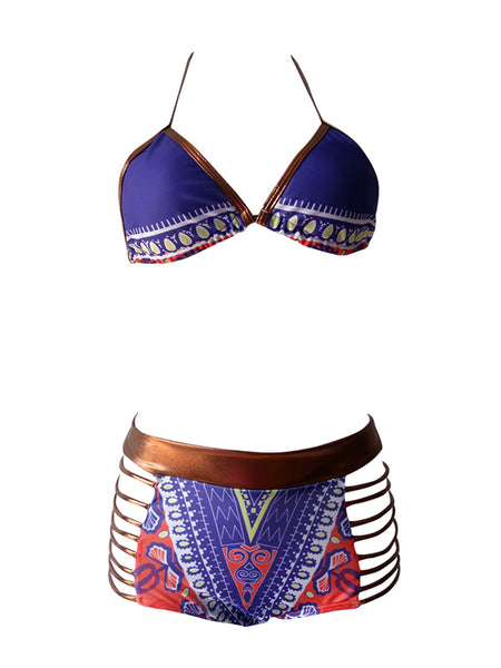 [Special Sale]Print Lace-up Backless Two Pieces Bikini