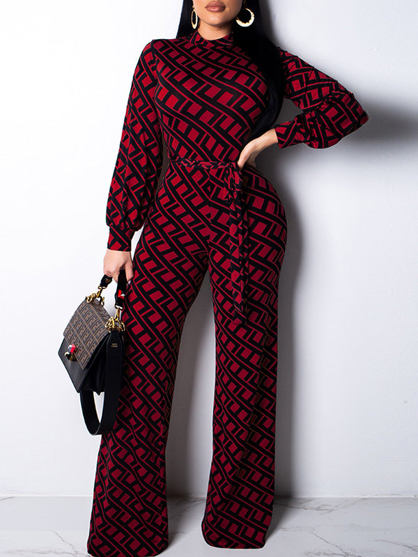 Sexy Pros And Cons Two Wear Print Long Sleeve Jumpsuit