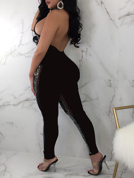 Halter Sequins Sleeveless Party Jumpsuit