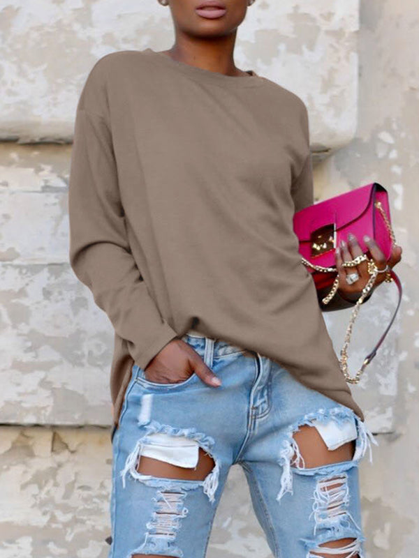 Back Bandage Long Sleeve Round Neck Top