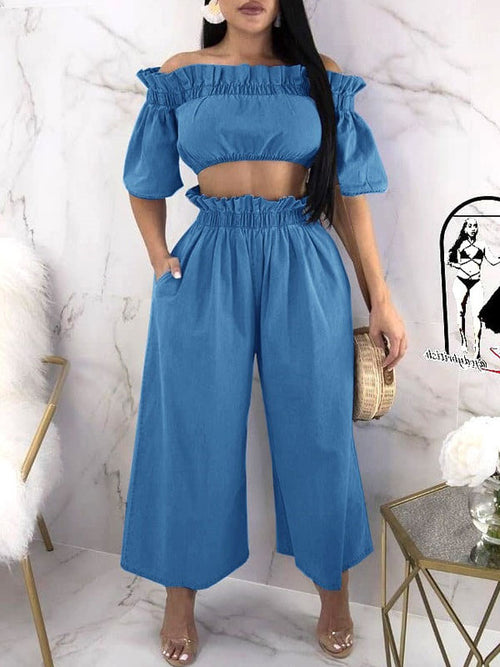 Casual Ruffle Off The Shoulder Wide Leg Two-Piece Outfits