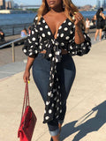 Polka Dot Deep V-neck Puff Sleeve Bandage Top