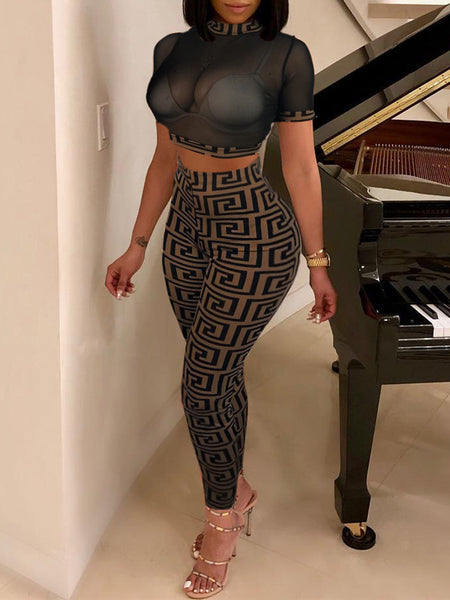 Sexy Print See Through Fashion Top & Pants