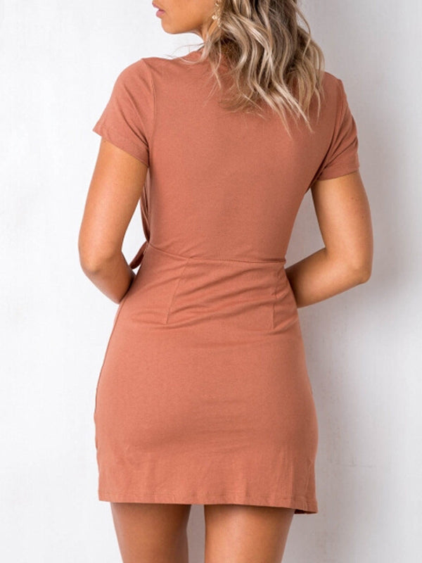 Bandage Hollow Out Solid Short Sleeves Mini Dress