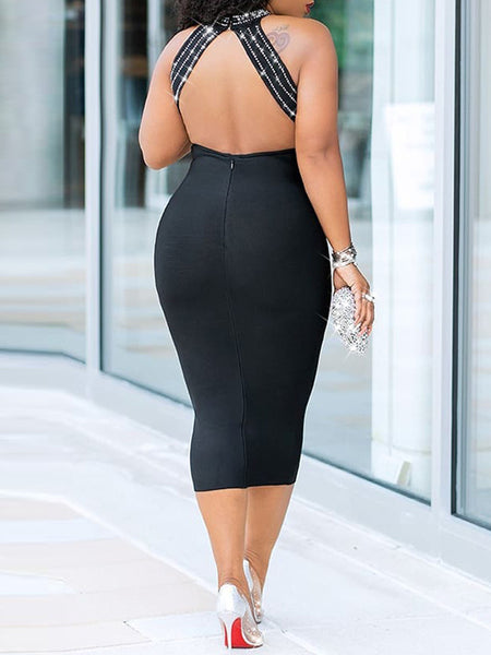See-through Hot Drilling Open Back Midi Dress