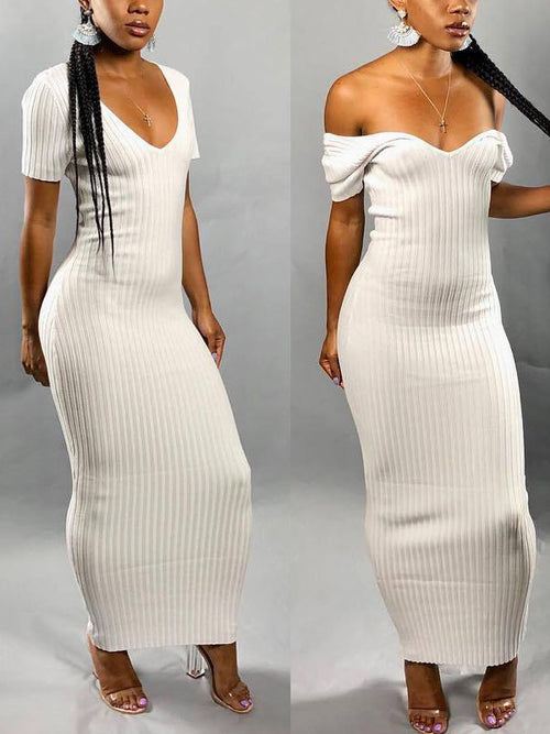 Solid Short Sleeves Maxi Dress