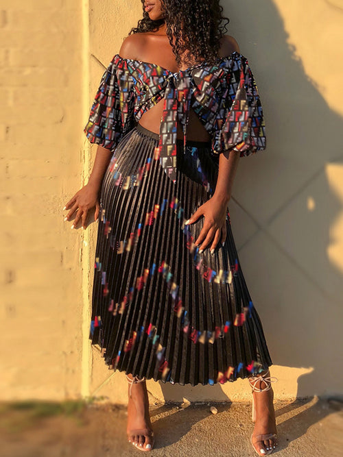 Letter Print V Neck Knotted Two Piece Maxi Dress