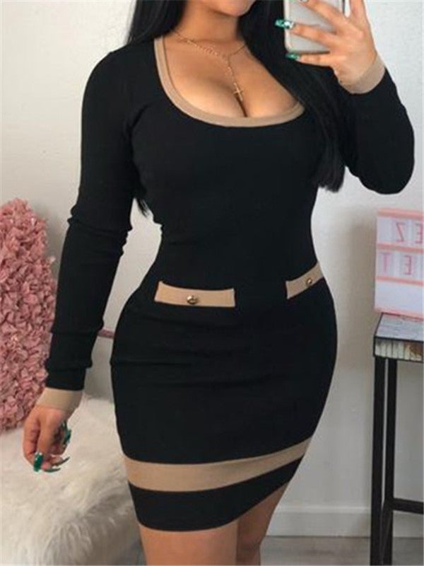Scoop Neck Long Sleeve Mini Dress