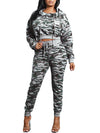 Camouflage Print Hooded Long Sleeve Two Piece Outfits