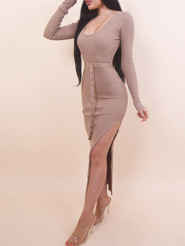 Sexy Scoop Neck Side Slit Midi Dress With Belt