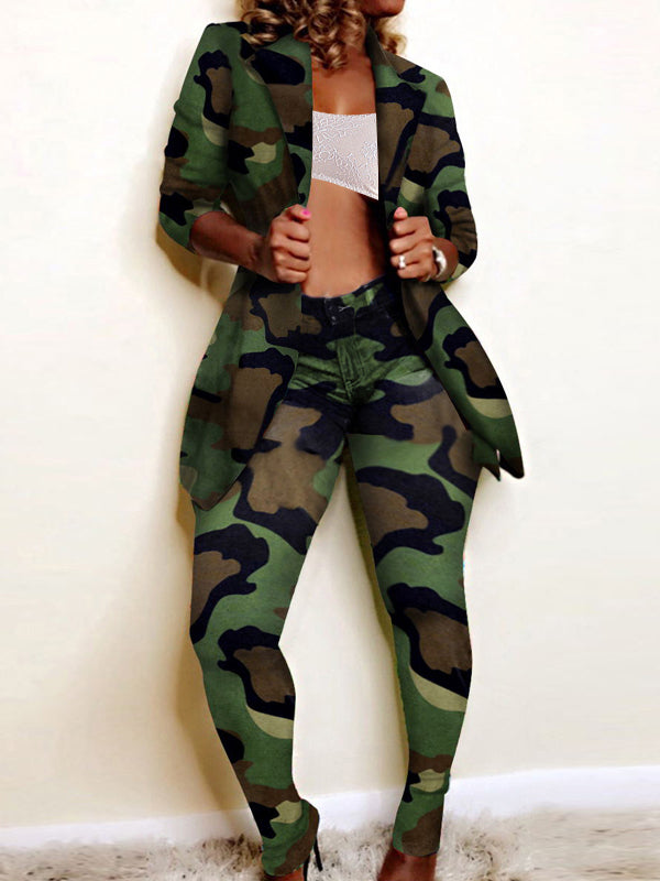 Camouflage Printed Turndown Collar Coat & Pants