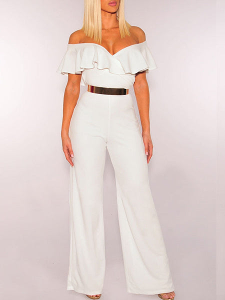 Sexy Solid Flounced Jumpsuit