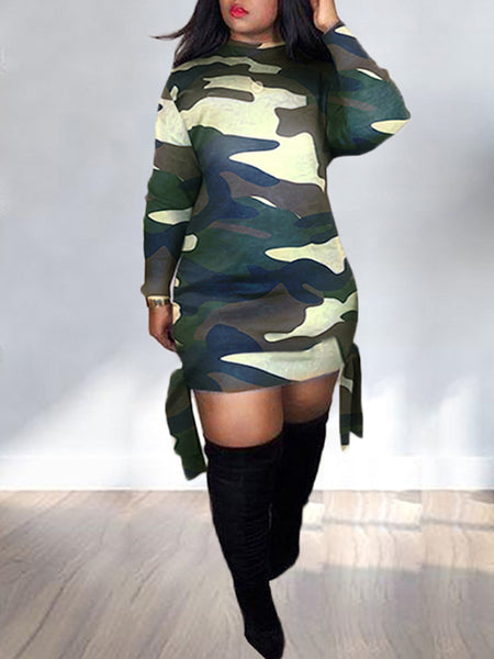 Lace Up Camouflage Print Casual Dress