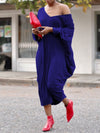 Solid Casual Hollow Out Batwing Sleeve V-neck Skew Neck Midi Dress