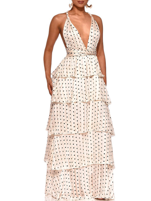 Halter Neck Deep V-neck Polka Dot Sleeveless Maxi Dress