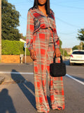 Plaid Print Fashion Long Sleeve Two-Piece Outfits