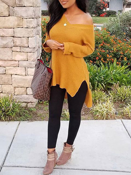 Solid Knit V-neck Long Sleeve Top