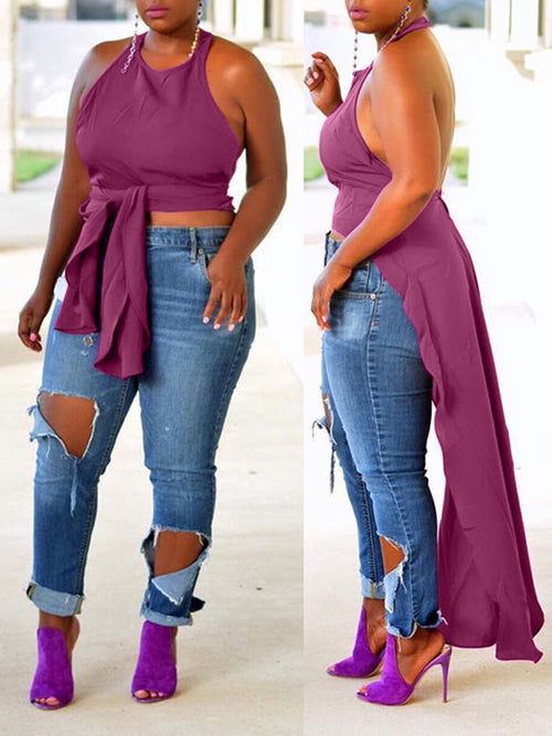 Halter Neck Solid Open Back Sleeveless Asymmetric Hem Top