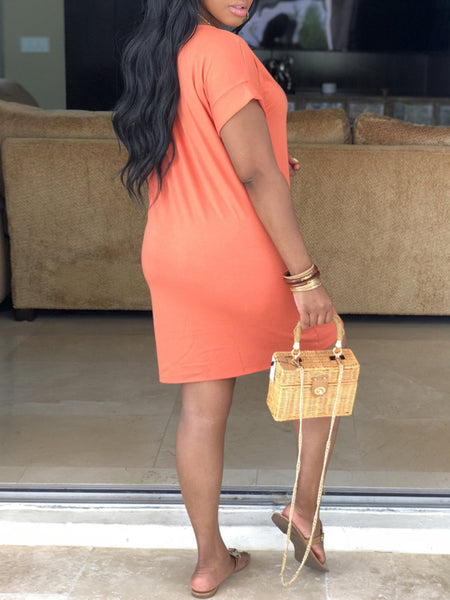 Solid Color Casual Short Sleeve Mini Dress