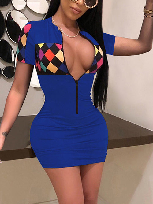 Sexy Print Night Club Mini Dress