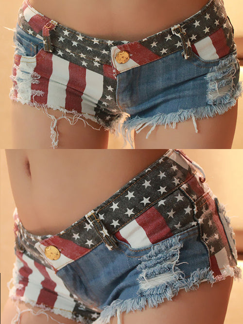American Flag Splicing Denim Shorts