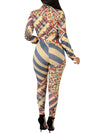 Turndown Collar Printed Button Long Sleeve Two Piece Outfits